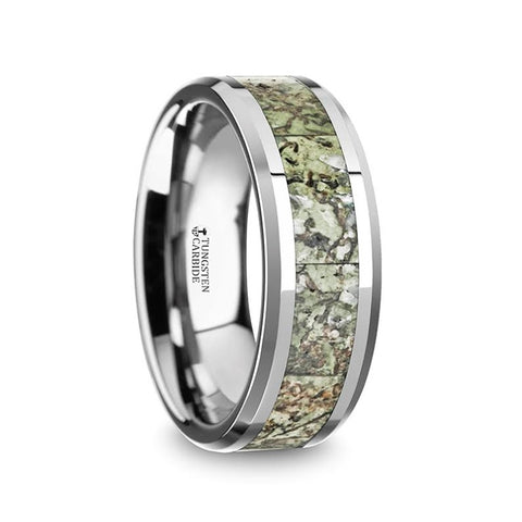 MARSH | Tungsten Band with Light Green Dinosaur Bone Inlay & Beveled Edges | 8mm - TCRings.com