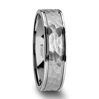 MARTELLO | White Tungsten Wedding Ring | Hammered Finish | 6mm & 8mm - TCRings.com