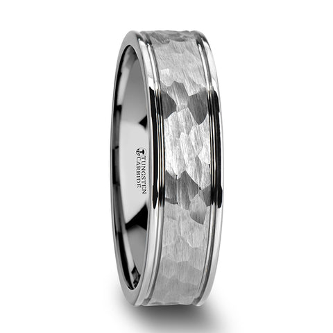 MARTELLO | White Tungsten Carbide Band, Hammered Center, Dual Offset Grooves | 6mm & 8 mm - TCRings.com