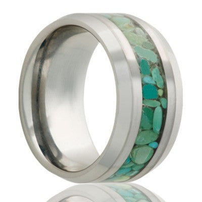 MAUI | Tungsten Carbide Wedding Band Green Turquoise Inlay | 8mm - TCRings.com