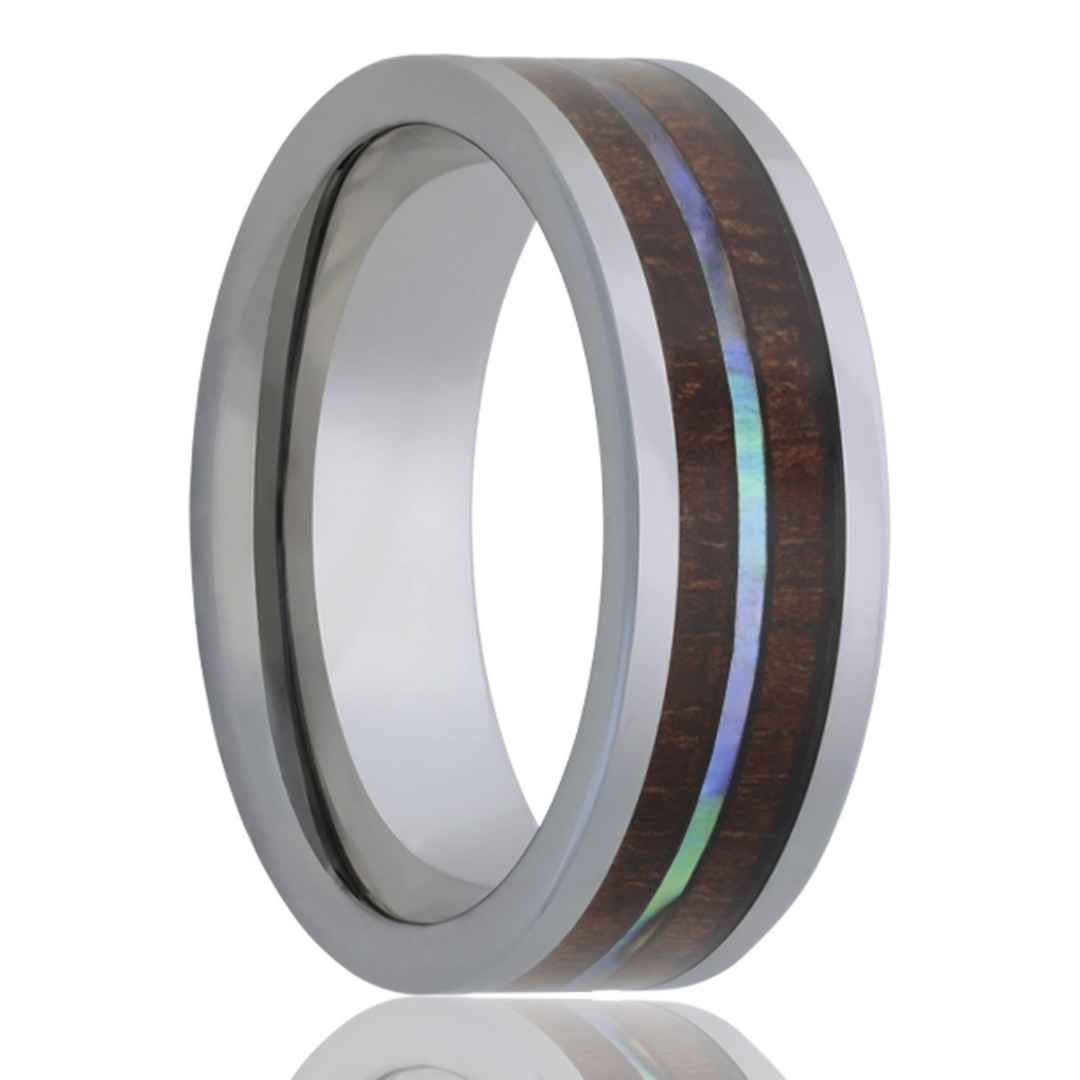 Men's tungsten wedding ring with koa wood and abalone inlay