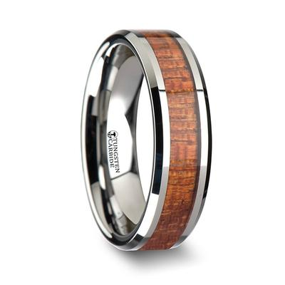 Men's Wedding Band with Mahogany Inlay