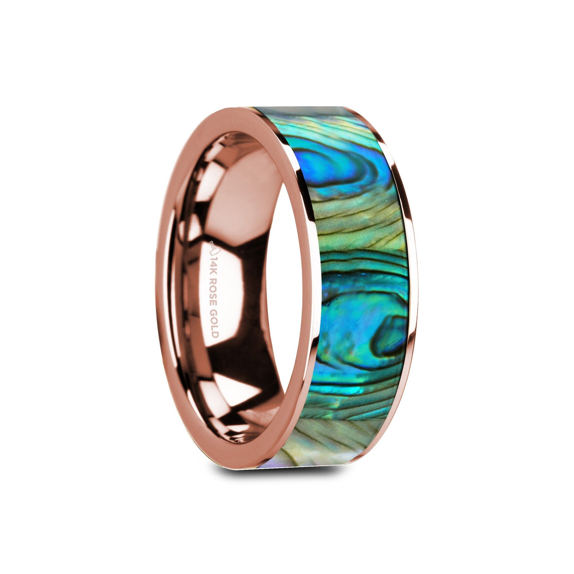 MENDOCINO | Rose Gold Wedding Ring | Mother of Pearl Inlay | 8mm - TCRings.com
