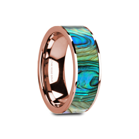 MENDOCINO | Flat Polished 14K Rose Gold Mother of Pearl Inlay | 8mm - TCRings.com