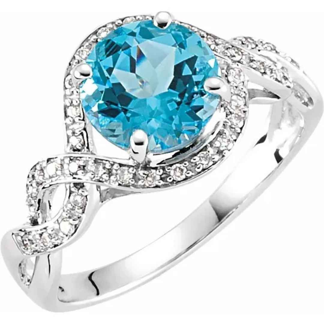 Women's swiss blue topaz engagement ring