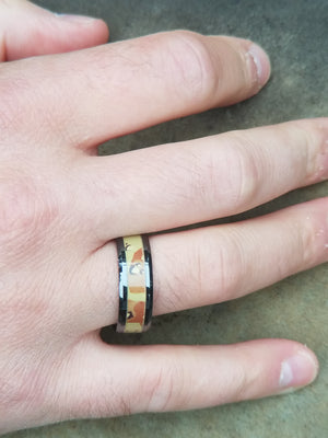 MIRAGE | Desert Camo Military Style Beveled Black Ceramic Ring | 8mm - TCRings.com