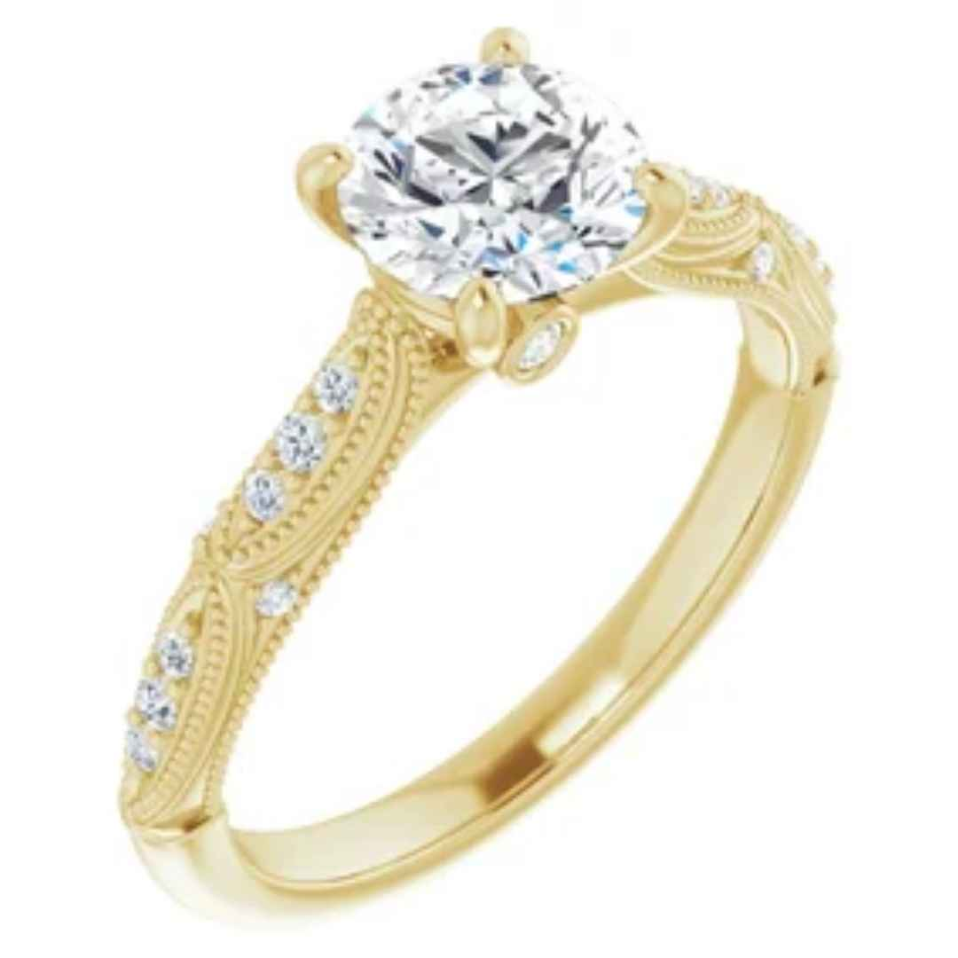 Women's 14K yellow gold diamond engagement ring