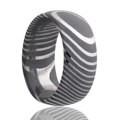 Men's Wedding Band Damascus Steel