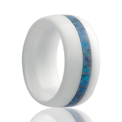 MYKONOS | Ceramic Wedding Ring | White with Opal Inlay | 8mm