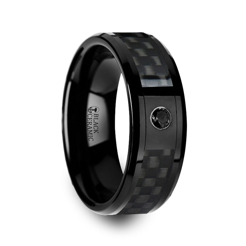 MANHATTAN | Black Ceramic Wedding Band | Black Solitary Diamond | Black Carbon Fiber | 8mm - TCRings.com