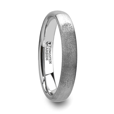 MARKER  Fingerprint Ring Engraved Domed Tungsten Ring Brushed Ring   4mm, 6mm & 8mm