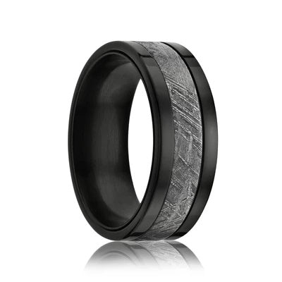 NAMA | Meteorite Men's Wedding Ring | Black Zirconium | 8mm