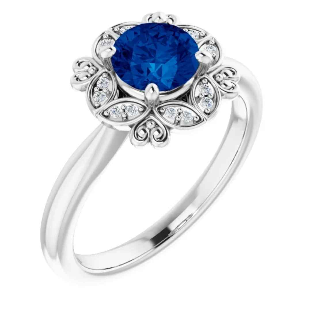 Women's 14k white gold lab created blue sapphire vintage inspired engagement ring