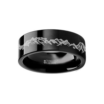 Black Tungsten Ring Nature Scene Mountains