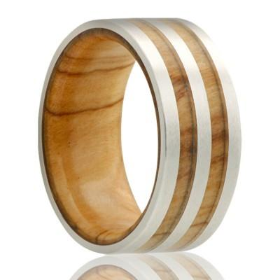 Men's Cobalt Wedding Ring with Olive Wood