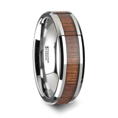 Tungsten Wedding Band with Koa Wood Inlay