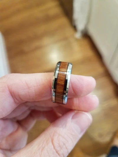 Wedding Ring with Koa Wood Lifestyle