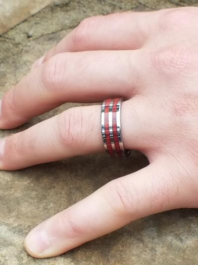 Man Wearing Cobalt Wedding Ring with Wood Inlays