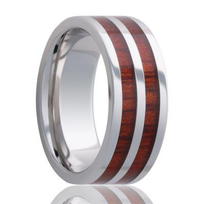 Men's Wedding Band Cobalt with Wood Inlays