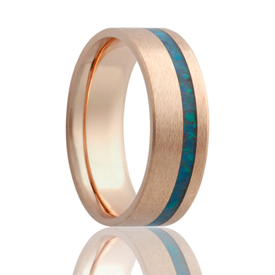Couples Wedding Band | 14k Rose Gold with Opal Inlay