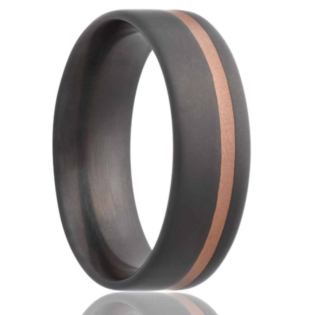 Men's zirconium wedding ring with 14K rose gold inlay