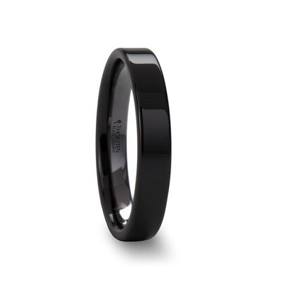 Black Ceramic Wedding Band Flat