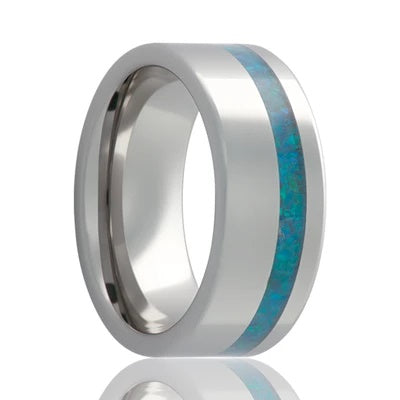 Tungsten Wedding Ring with Opal Inlay
