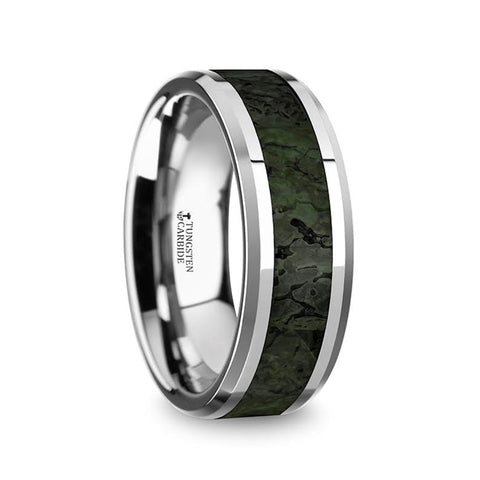 OSBORN    Tungsten  Band with Dark Green Dinosaur Bone Inlay & Beveled Edges    |    8mm - TCRings.com