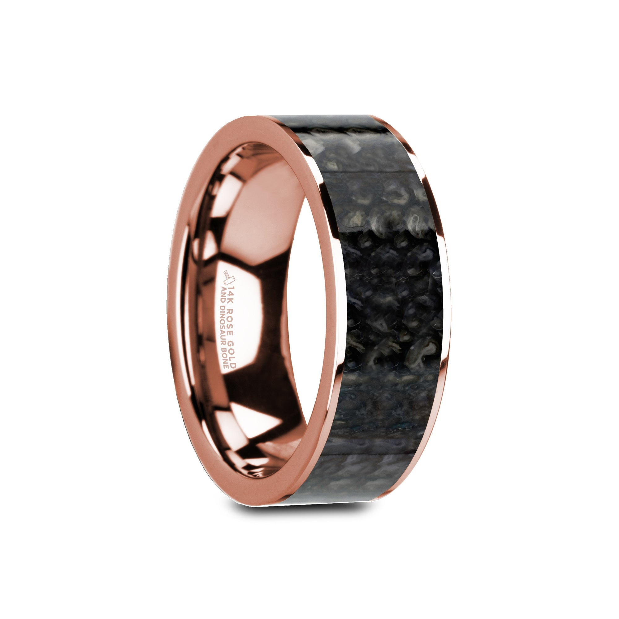 OWEN | Rose Gold Wedding Band | Blue Dinosaur Bone Inlay | 8mm - TCRings.com