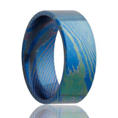 Men's Wedding Band Mokume Titanium