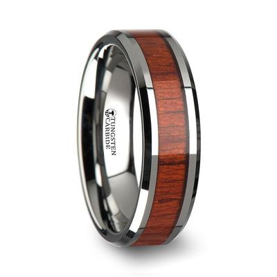 Men's Wedding Band with Wood Inlay
