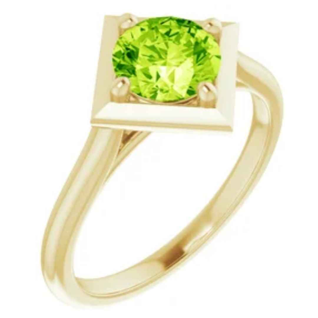 Women's 14K yellow gold peridot engagement ring