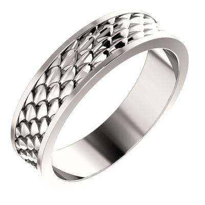 Men's 14k White Gold Wedding Band with Scale Pattern