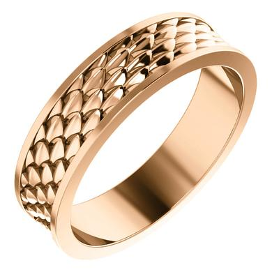 Men's 14k Rose Gold Wedding Band with Scale Pattern