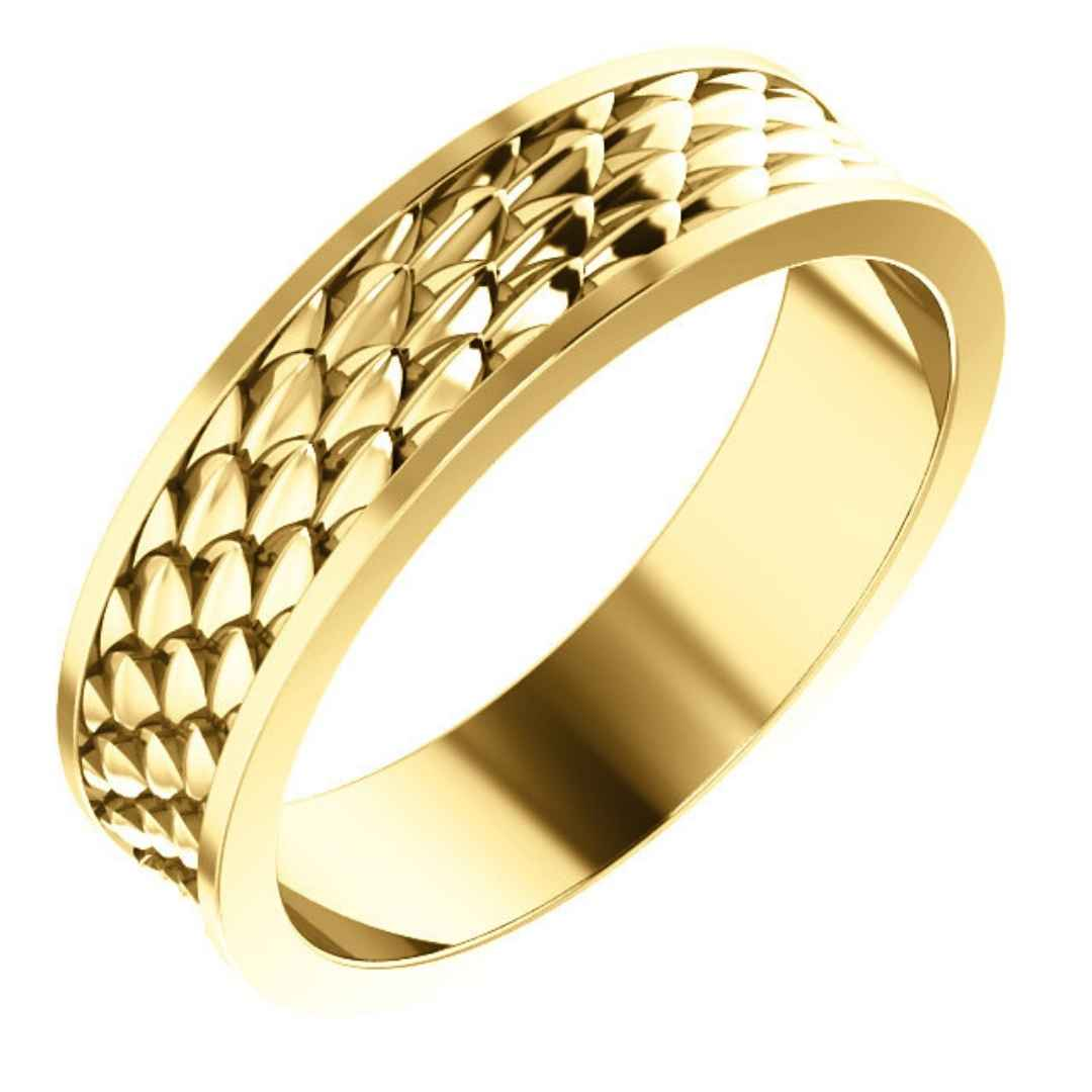 Men's 14K white gold wedding ring with fish scales
