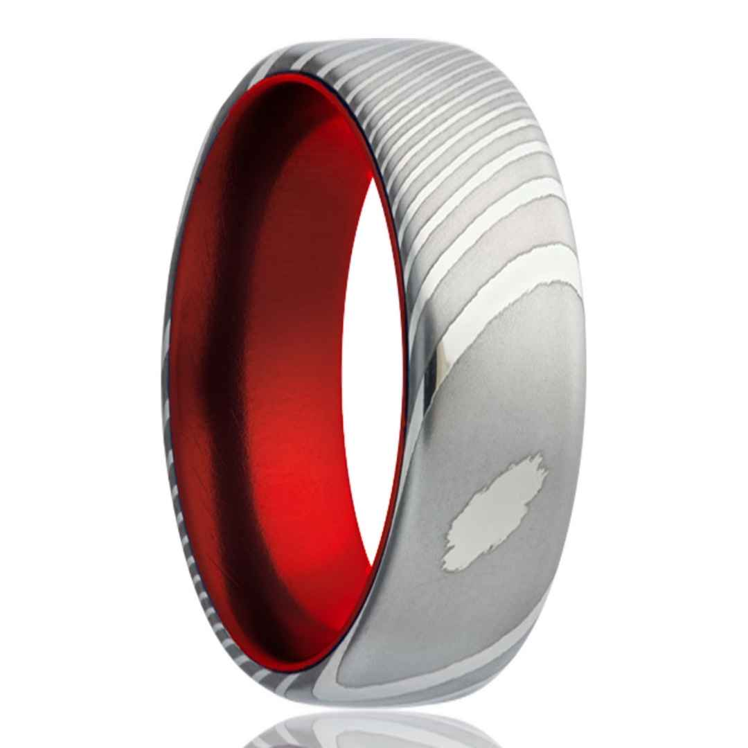 Men's damascus steel wedding ring with red inlay