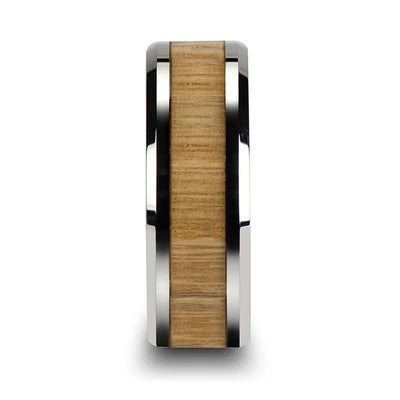 Men's Tungsten Wedding Ring with Wood Inlay