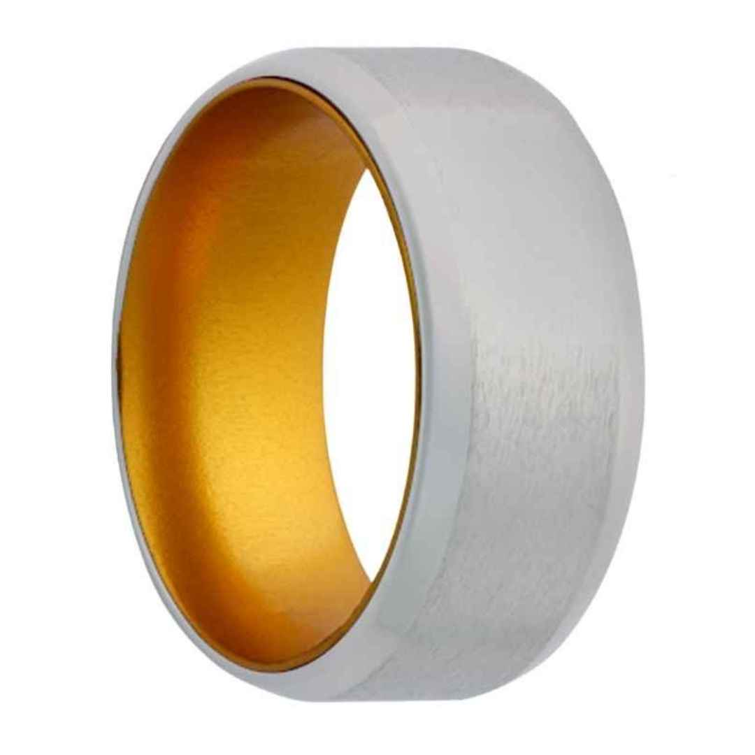 Men's cobalt wedding ring with gold inlay