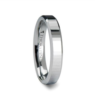 Men's Wedding Band Tungsten with Faceted Surface