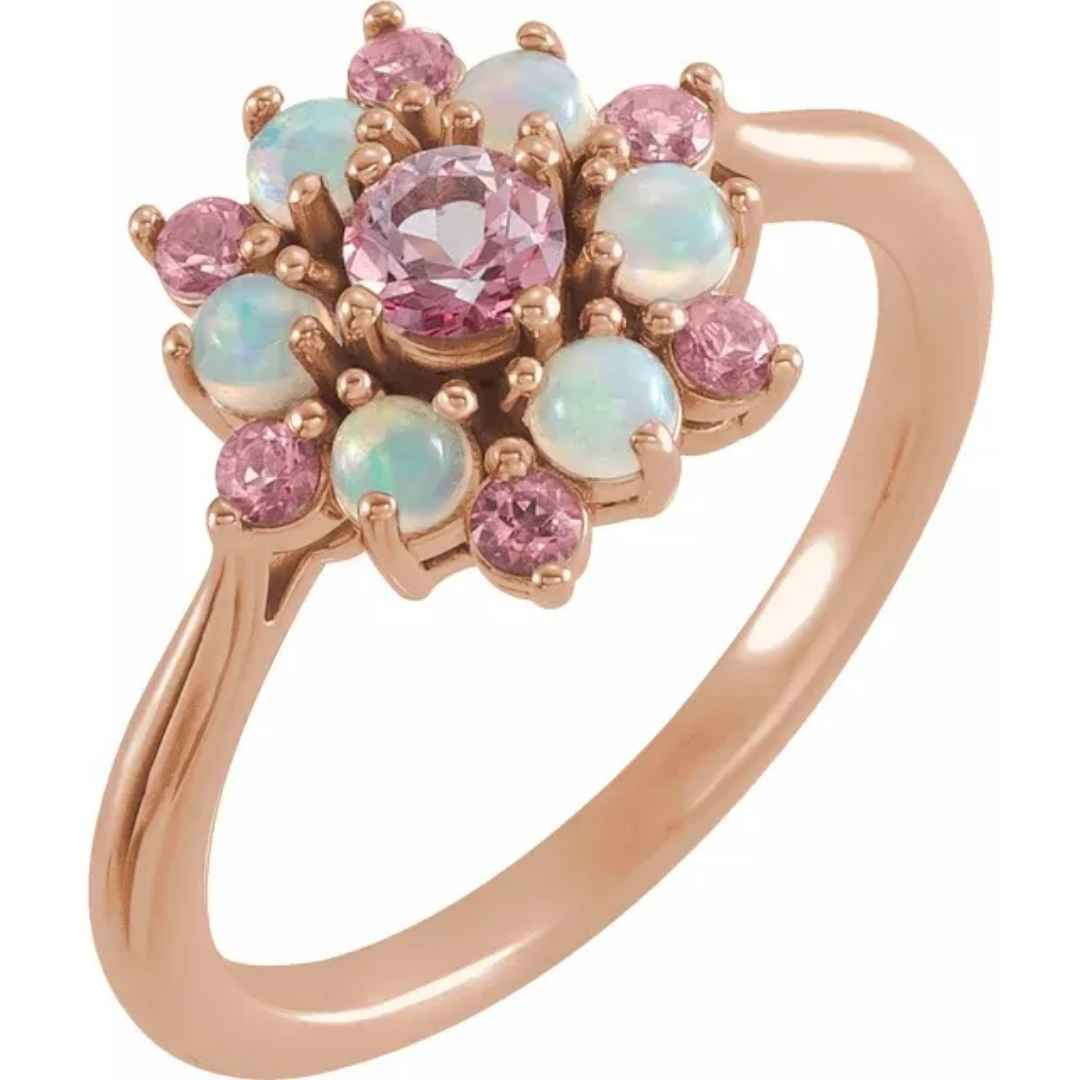 Women's 14k rose gold ethiopian opal and pink topaz engagement ring