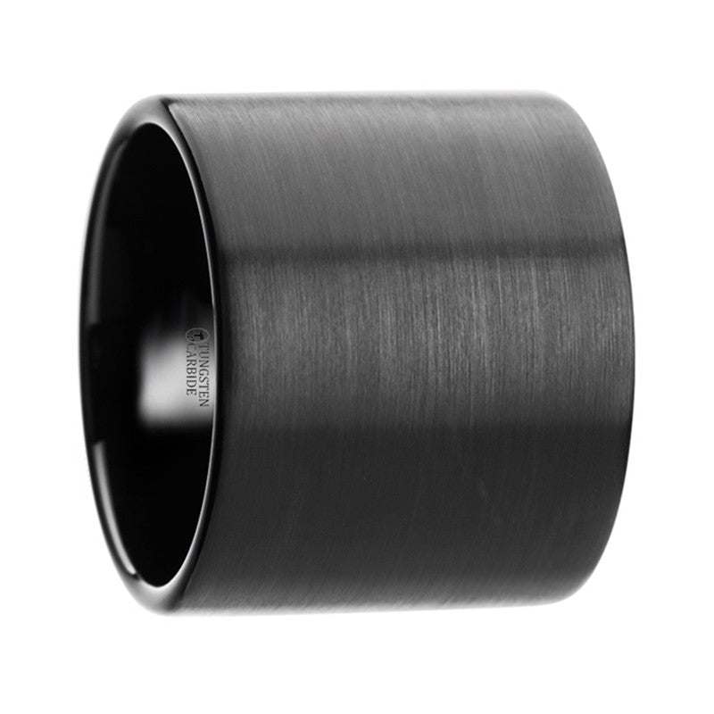 PANTHER    Flat Pipe Cut Black Tungsten Carbide Ring with Brushed Finish    |    20 mm - TCRings.com