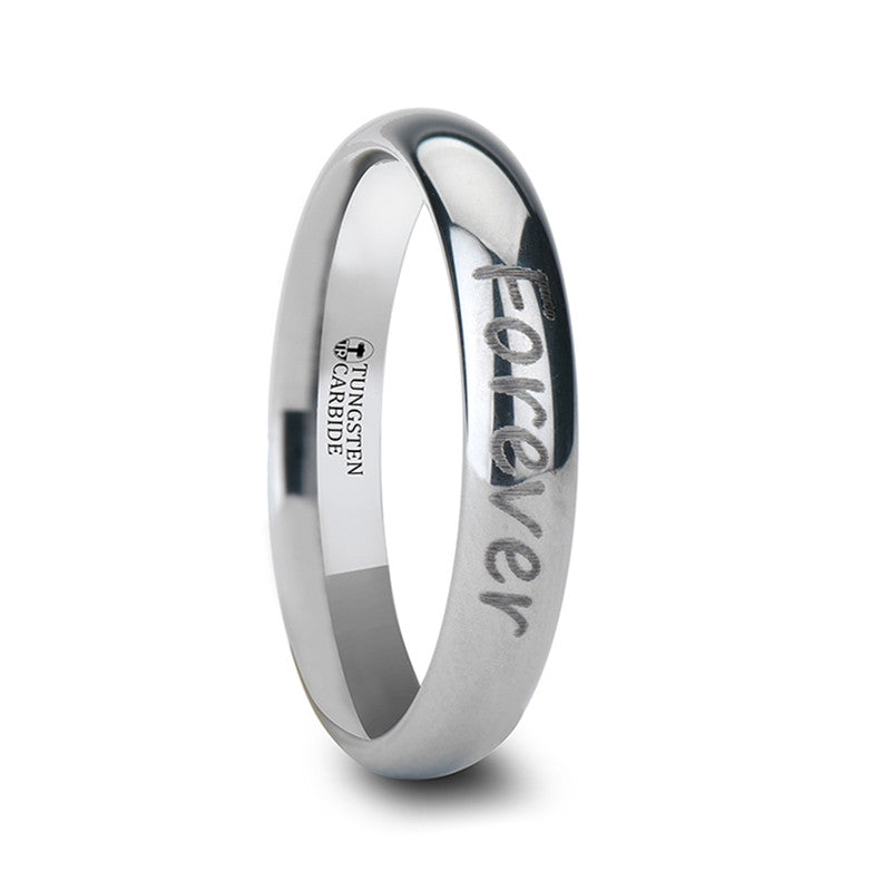 PROSE    Handwritten Engraved Domed Tungsten Ring Polished    |    4mm, 6mm, 8mm, 10mm & 12mm - TCRings.com