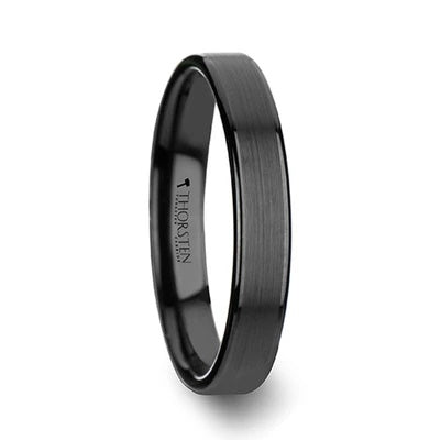 Black Tungsten Wedding Ring Brushed Finish