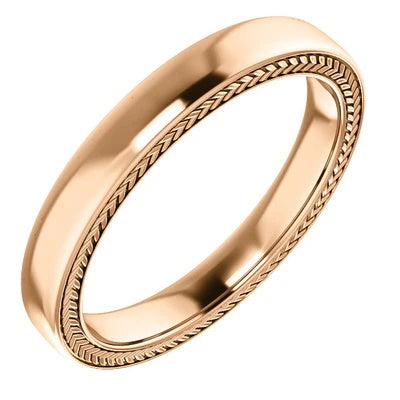 14k Gold Wedding Ring 3mm Rose Gold