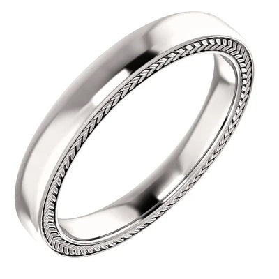 14k Gold Wedding Ring 3mm White Gold