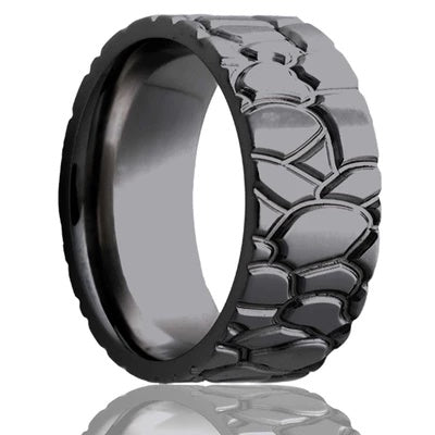 RALLYE | Men's Tire Tread Wedding Ring | Black Zirconium | 8mm