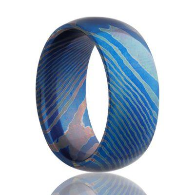 Mokume Titanium Wedding Band