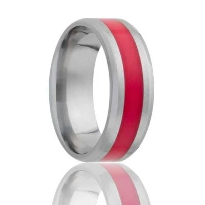 Titanium Wedding Ring with Inlay