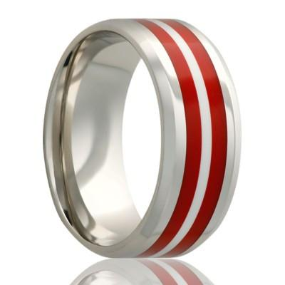 Men's Wedding Band with Dual Inlays Titanium