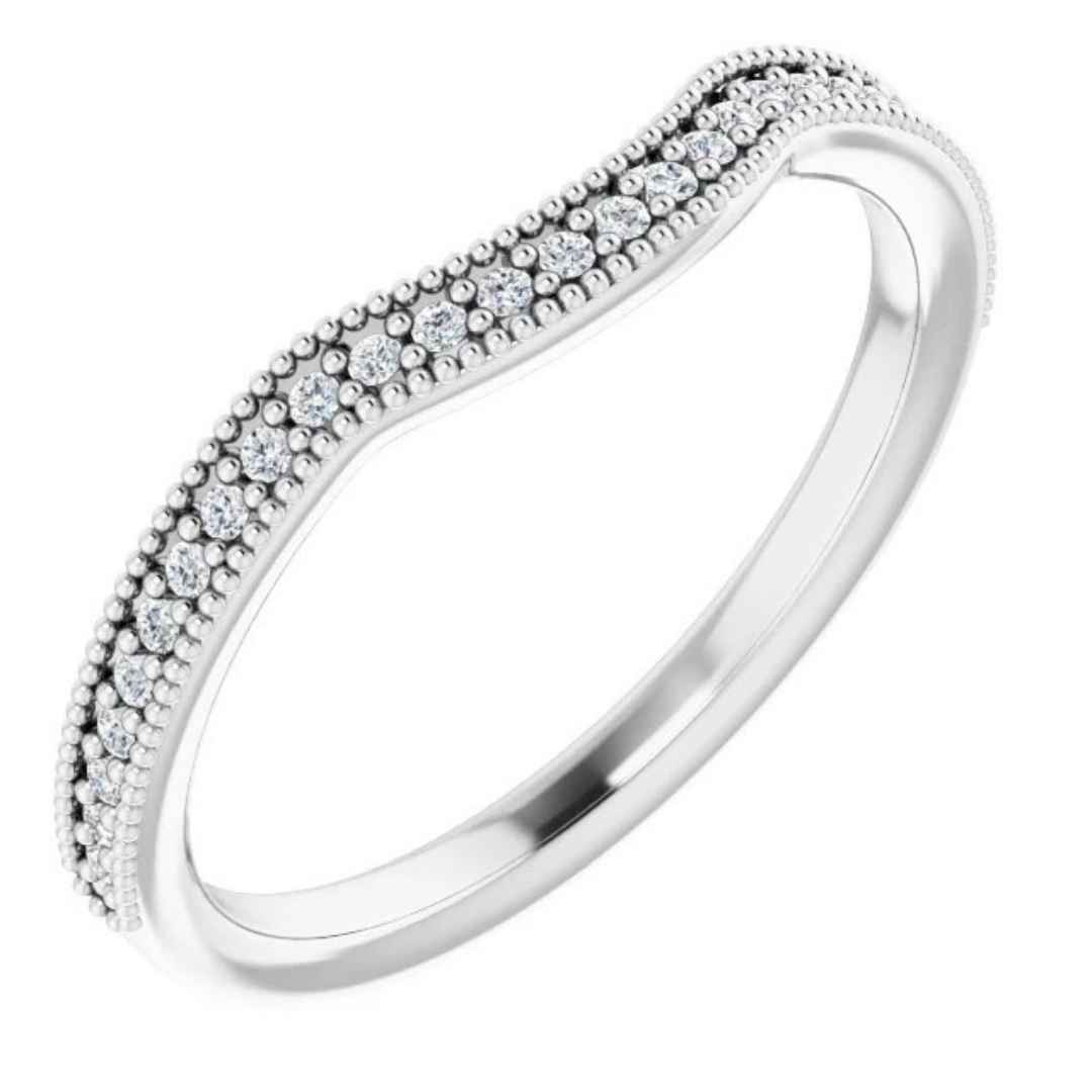 Women's channel set diamond contour wedding ring